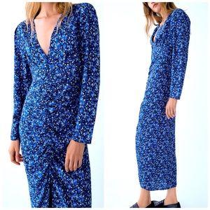 NEW Zara Floral Print Ruched V-Neck Midi Dress